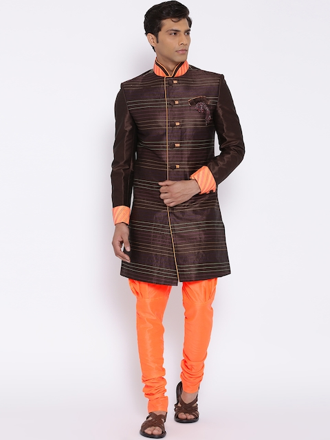 Manish Creations Brown & Orange Handicraft Sherwani
