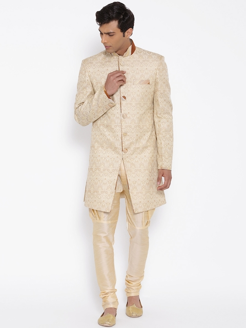 Manish Creations Beige Brocade Pattern Handcrafted Sherwani