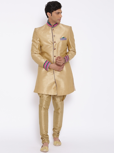 Manish Creations Golden Handcrafted Sherwani