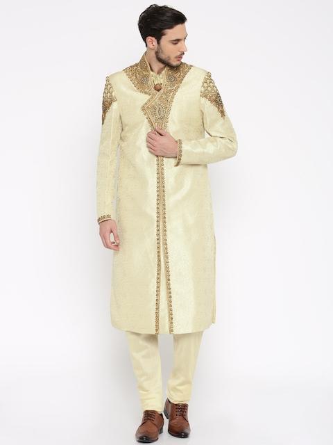 Manish Creations Beige & Gold-Toned Embellished Handicraft Sherwani