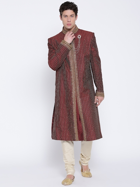 Manish Creations Maroon & Cream-Coloured Brocade Pattern Handcrafted Sherwani