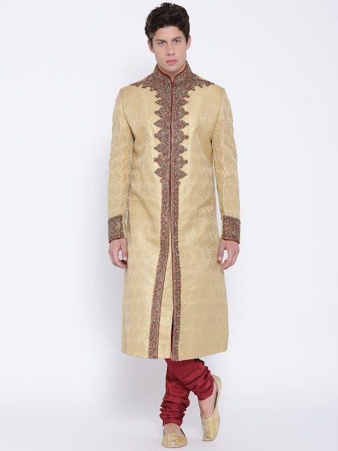 Manish Creations Beige & Maroon Brocade Pattern Handicraft Sherwani
