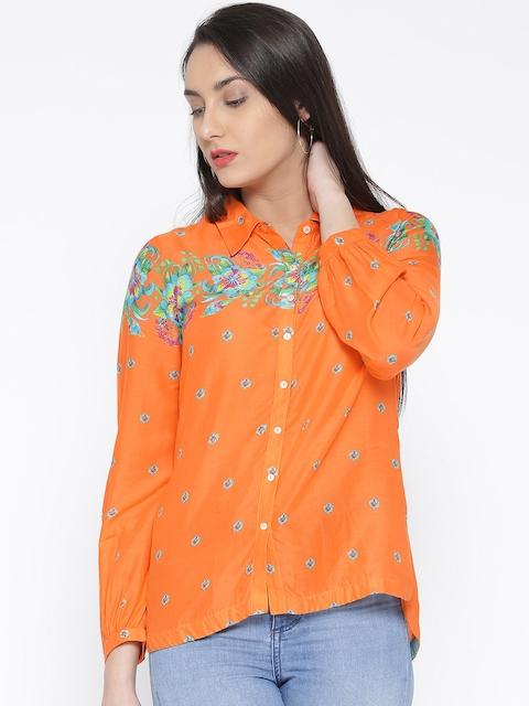 109F by Nishka Lulla Women Orange Printed Casual Shirt