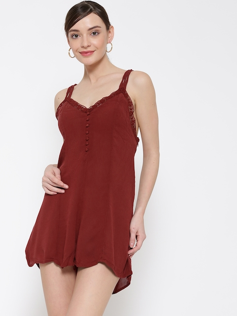 FOREVER 21 Brick Red Playsuit