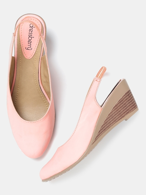 DressBerry Women Pink Solid Wedges