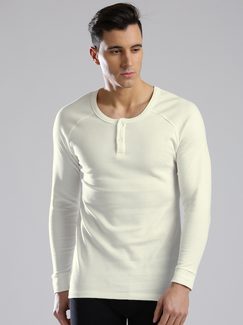 Levis Men Off-White Thermal Henley T-shirt 300