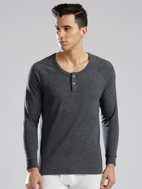 Levis Men Grey Melange Thermal Henley T-shirt 300  available at myntra for Rs.585