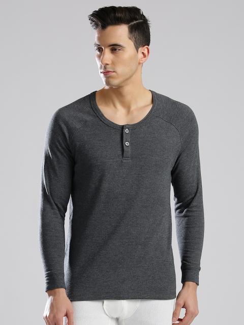 Levis Men Grey Melange Thermal Henley T-shirt 300