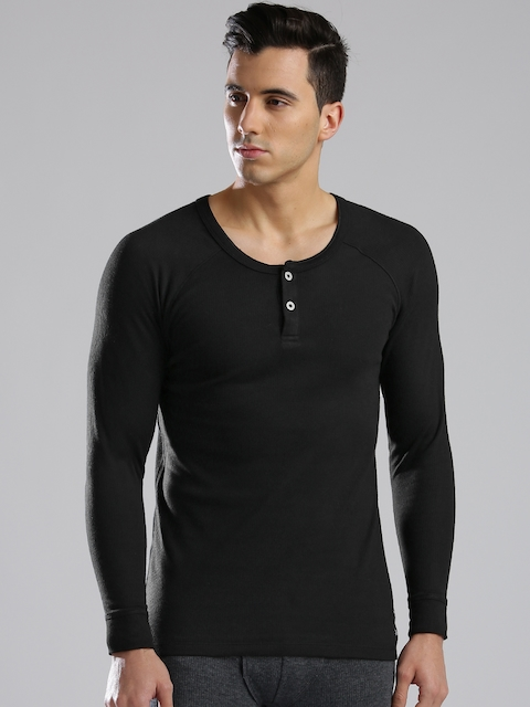 Levis Men Black Thermal Henley T-shirt 300  available at myntra for Rs.409