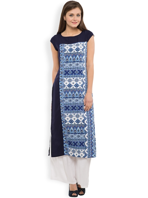 Vishudh Women Navy & White Printed Kurta  available at myntra for Rs.399