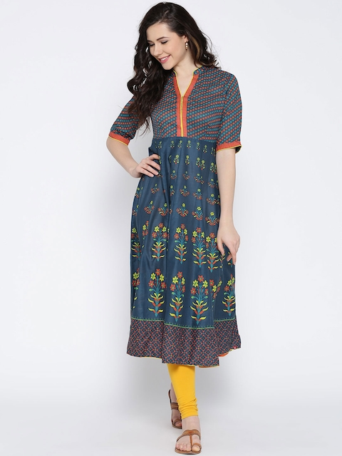 Biba Women Blue Printed Anarkali Kurta  available at myntra for Rs.849