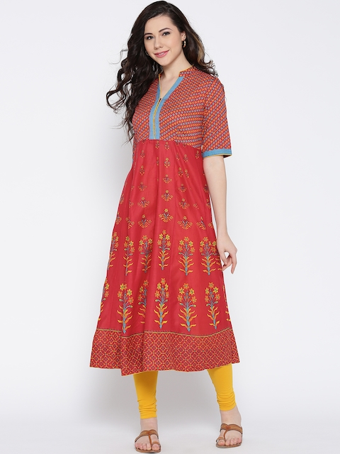 Biba Women Red Printed Anarkali Kurta  available at myntra for Rs.849