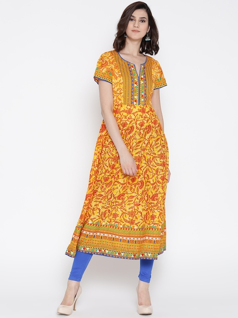Biba Women Yellow & Red Printed Anarkali Kurta  available at myntra for Rs.809
