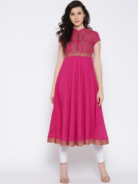 Biba Women Pink Yoke Design Anarkali Kurta