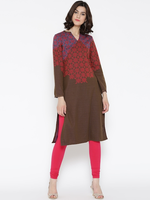 Biba Women Brown & Pink Printed Straight Winter Kurta