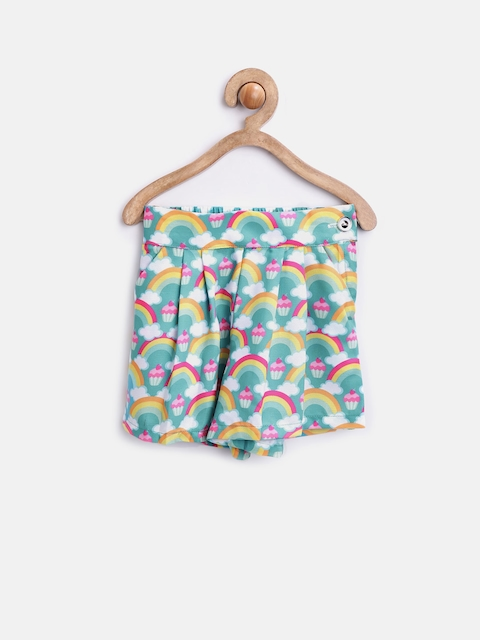 Peppermint Girls Sea Green Printed Shorts  available at myntra for Rs.359