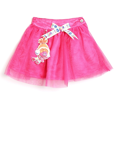 Peppermint Dreamworks Trolls Girls Pink Net Flared Skirt  available at myntra for Rs.479
