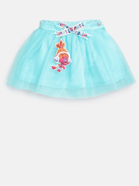 Peppermint Dreamworks Trolls Girls Blue Net Flared Skirt  available at myntra for Rs.479