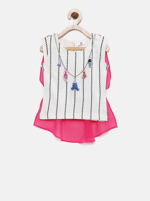 Peppermint Girls Pink Printed Regular Top  available at myntra for Rs.382