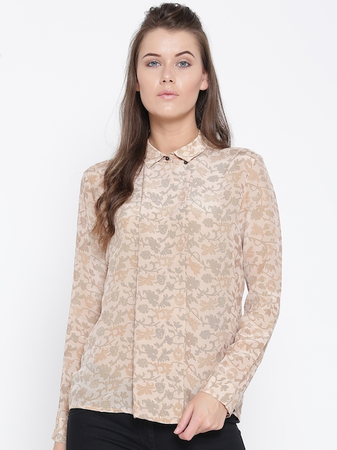 Wills Lifestyle Women Beige Silk Printed Casual Shirt  available at myntra for Rs.1399