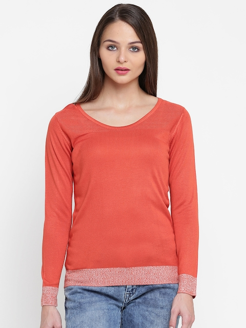Wills Lifestyle Women Orange Solid Top