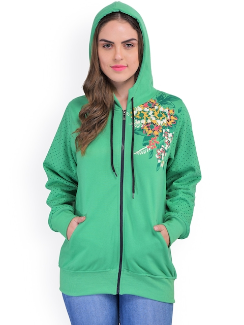 TAB91 Green Floral Print Hooded Fleece Sweatshirt