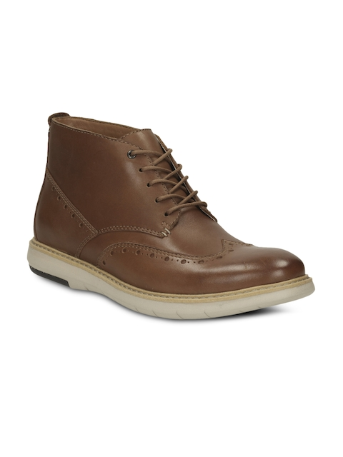 Clarks Men Tan Brown Leather Boots