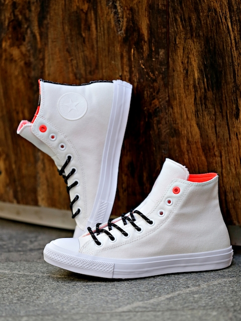 Converse White Solid Chuck Taylor All Star II Shield Canvas High-Top Sneakers