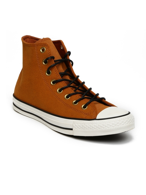 Converse Men Brown Solid High-Top Sneakers
