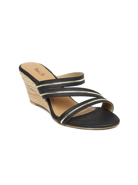 Inc 5 Women Black Solid Wedges