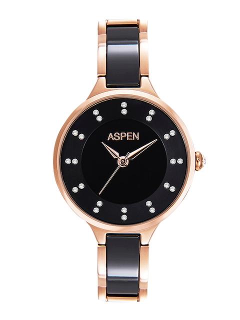 ASPEN Women Black Stone-Studded Dial Watch AP1630A