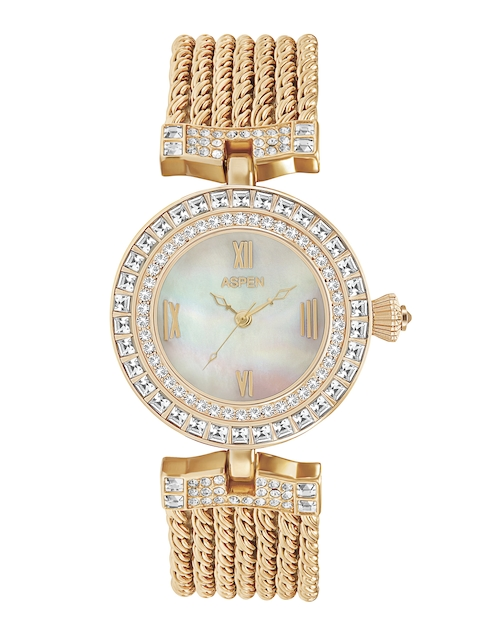 ASPEN Women White Stone-Studded Dial Watch AP1755A