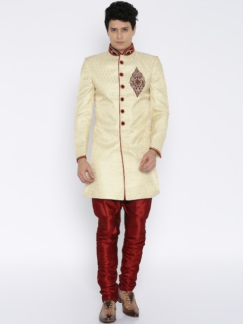 RG DESIGNERS Cream-Coloured & Maroon Embellished Sherwani