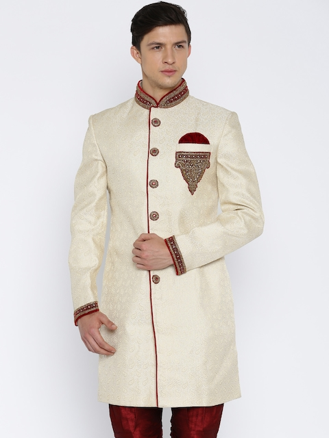 RG DESIGNERS Cream-Coloured Embellished Sherwani