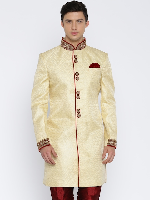 RG DESIGNERS Cream-Coloured Sherwani