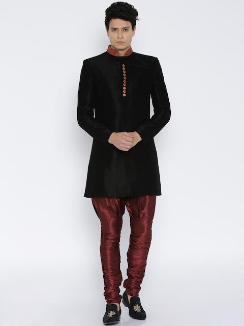 RG DESIGNERS Black & Maroon Sherwani