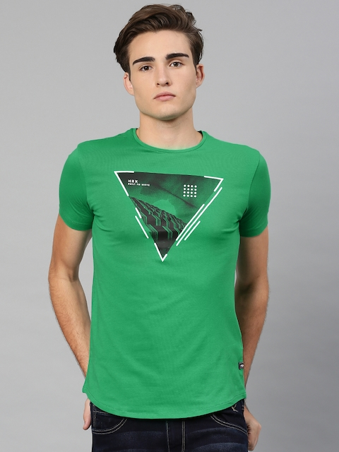 HRX by Hrithik Roshan Men Green Printed T-shirt  available at myntra for Rs.269