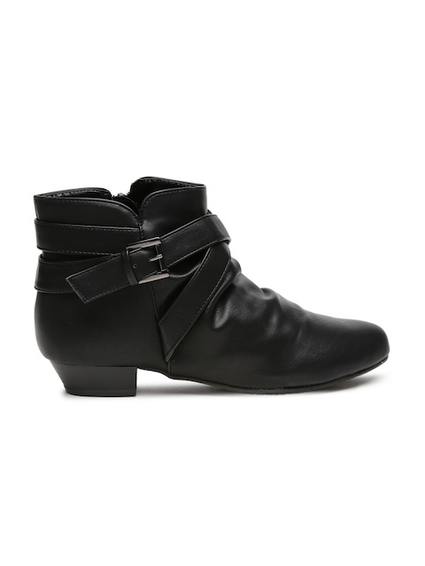 Carlton London Women Black Solid Mid-Top Flat Boots