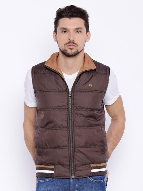 Basics Brown Comfort Fit Sleeveless Puffer Jacket