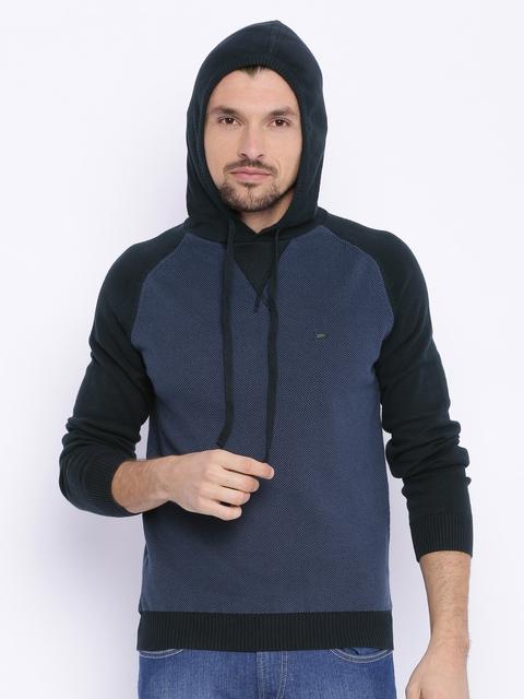 Basics Blue & Black Colourblocked Sweatshirt