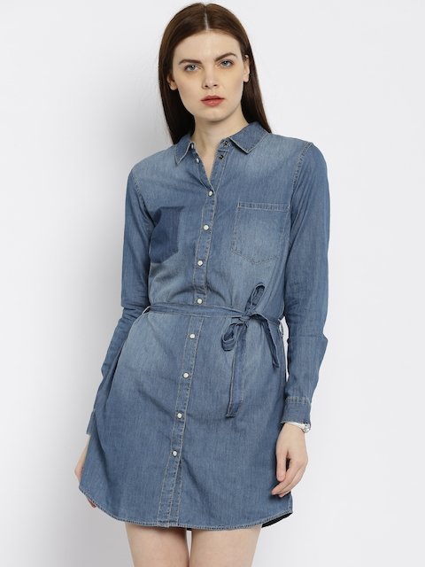 ONLY Women Blue Solid Shirt Dress