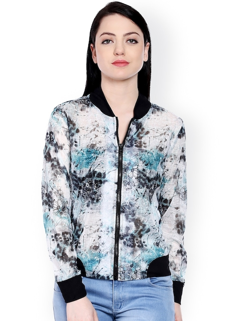 Style Quotient White & Black Printed Bomber Jacket