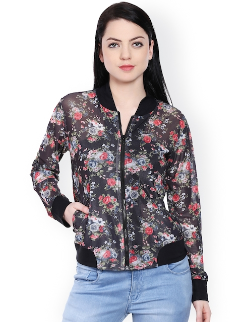 Style Quotient Black Floral Print Sheer Jacket