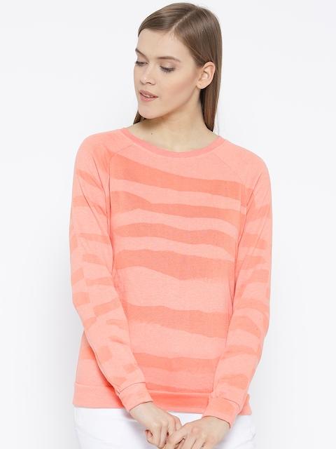 Vero Moda Coral Orange Patterned Sweatshirt