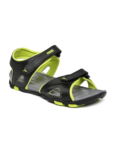 PUMA Unisex Black & Fluorescent Green Vesuvius DP Sports Sandals