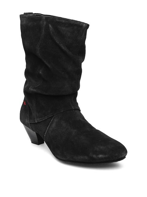 Lee Cooper Women Black Suede Heeled Boots