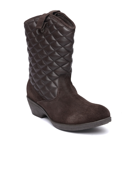 Lee Cooper Women Brown Quilted Real Leather Heeled Boots