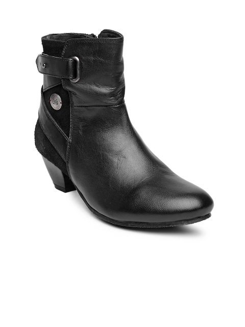 Lee Cooper Women Black Real Leather Heeled Boots