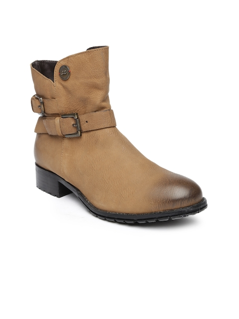 Lee Cooper Women Tan Brown Leather Heeled Boots