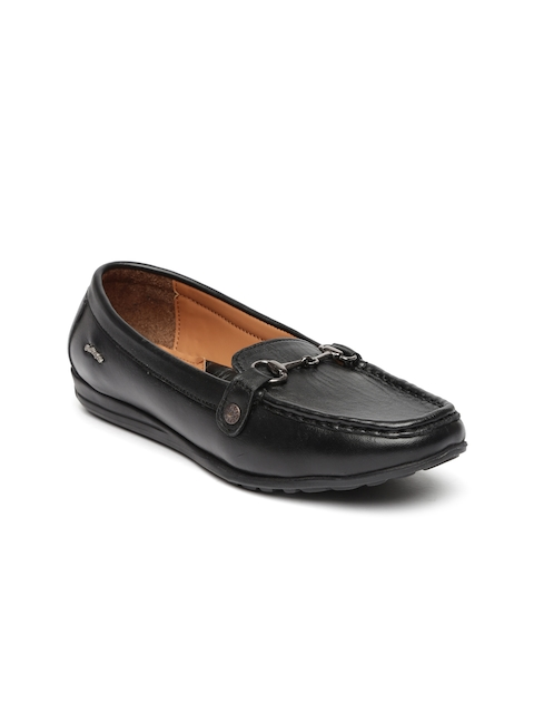 Lee Cooper Women Black Solid Leather Loafers